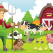 Royalty-Free Stock Vector Image: Farmer at the farm with animals