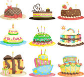 Birthday cakes — Stock Vector