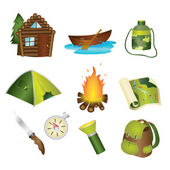 Iconos de camping — Vector de stock
