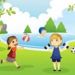 Дети, упражнения в парке — Cтоковый вектор