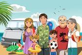 Family on beach vacation — Stock Vector