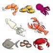 Sea animals icons — Stock Vector