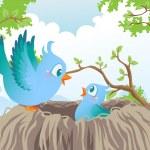 Birds in nest — Stock Vector #9714435