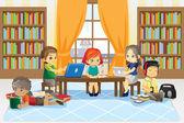 Niños en la biblioteca — Vector de stock