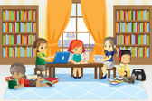 Children in library — Stock Vector