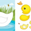 Duck puzzle — Stock Vector
