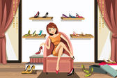 Woman shopping for shoes — Stock Vector