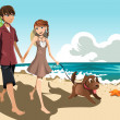 Young couple on the beach — Stock Vector #9857281
