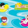 Kids in swimming pool — 图库矢量图片
