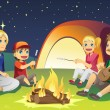 Stock Vector: Camping family