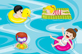 Kids in swimming pool — Stock Vector