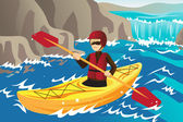 Kayaking — Stock Vector