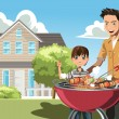 Father and son doing barbecue — Grafika wektorowa