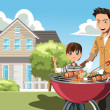 Father and son doing barbecue — Stock Vector