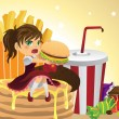 Stock Vector: Girl eating junk food