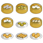Chinese dim sum icons — Stock Vector