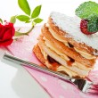 Beautiful decorated cake, heart with strawberry — Stockfoto