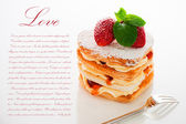 Beautiful decorated cake, heart with strawberry — Stock Photo