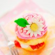 A two layer cupcake with pink and white buttercream sugar flower — Stock Photo #9084695