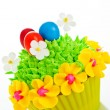 Happy easter cupcake with chocolate egg and cream grass as a mea — Stock Photo