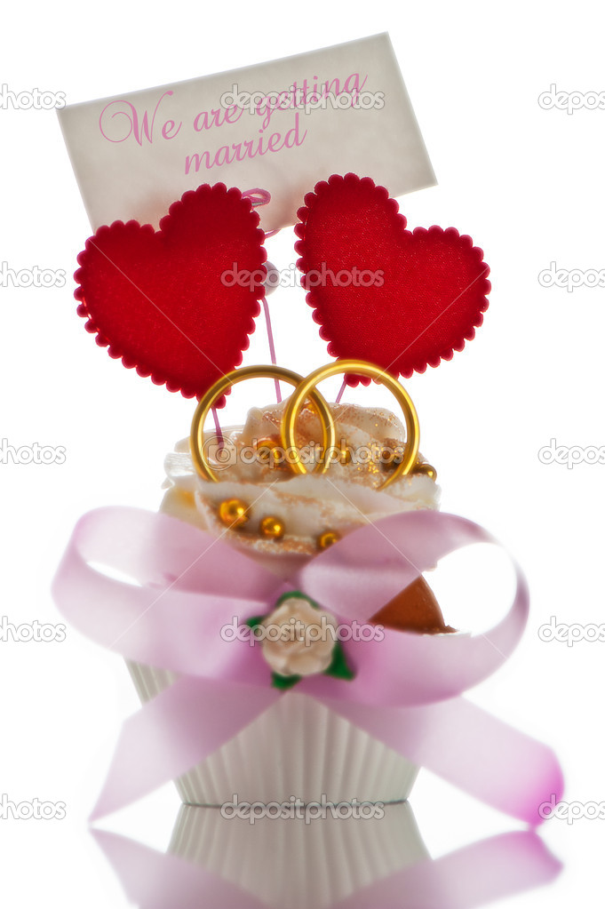 wedding invitation card with cupcake two heart and two