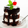 A small chocolate cake with 2 layer white cream, cherry and mint — Stock Photo