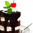 A small chocolate cake with 2 layer white cream, cherry and mint — Stock Photo #9406018