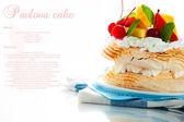 Pavlova with fresh fruit (mango, pineapple, watermelon, cherry) — Stock Photo