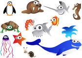 Sea animals,vector illustration of ocean life — Stock Vector