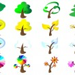 Stock Vector: Seasons Tree Icons