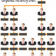 Stock Vector: Corporate hierarchy chart business man
