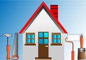 スタッコ ローラの家を飾ることおよび建物のツール — ストックベクタ