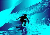 Surfista sulle onde astratte — Vettoriale Stock