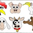 Stock Vector: Cute cartoon farm animals