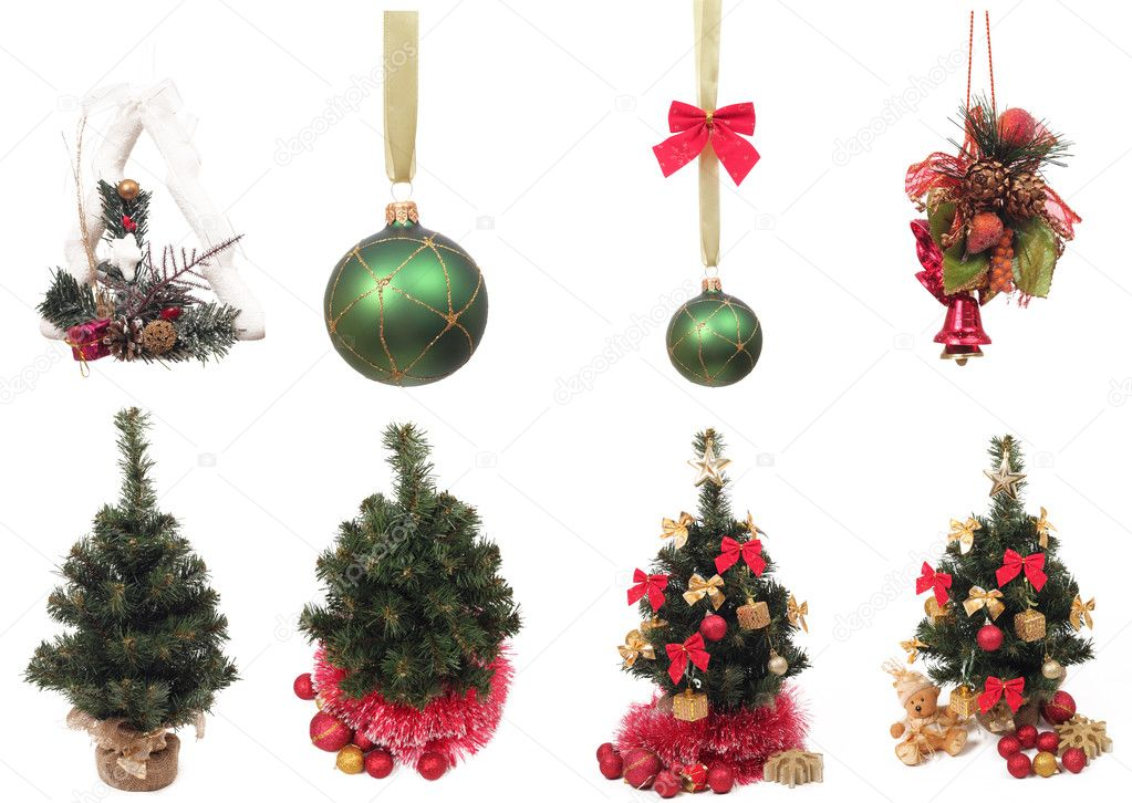 Group of Christmas objects over white background  Foto Stock #8038725