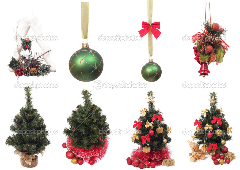 Group of Christmas objects over white background  Stok fotoraf #8038725