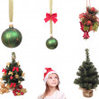 Set of christmas objects and kid — Stock Photo #8058871