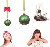 Set of christmas objects and kids — Stock Photo