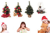 Christmas trees and lovely kids — Stock Photo
