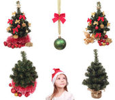 Objects and kid for New Year holiday — Стоковое фото