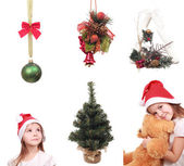Some decoration objects and a little girl — Stock Photo