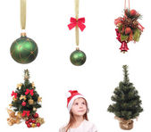 Set of christmas objects and kid — Stock Photo