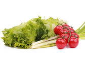 Leaves of lettuce, leek and cherry tomatoes — Stock Photo