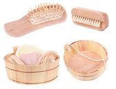 Wooden objects for spa — Stockfoto