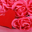 Cute heart with pink roses — Stockfoto