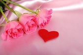 Shape of a heart with pink roses — Stock Photo