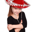 Little girl in a red cowboy hat — Stock Photo
