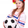 Ukrainian girl with soccer ball — Stock Photo