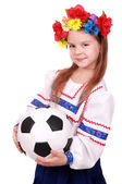 Ukrainian girl with soccer ball — Stockfoto