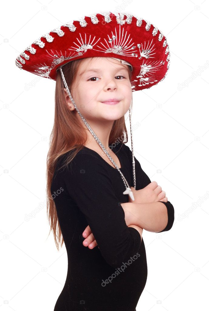 Lovely little girl in red and silver mexican hat on holiday theme over white background — Stock Photo #8961644